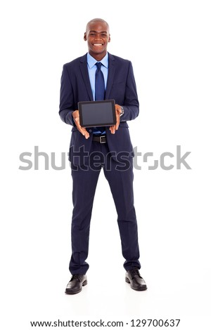happy african american businessman holding tablet computer - stock photo