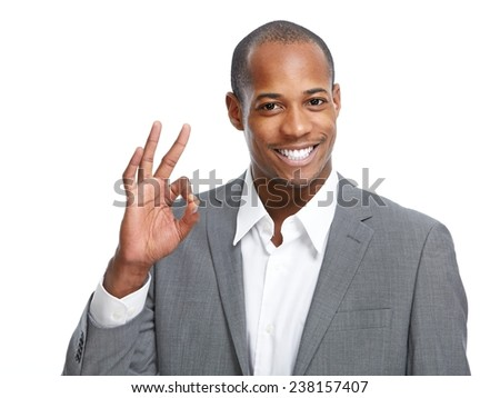 Happy African-American Businessman isolated on white background - stock photo