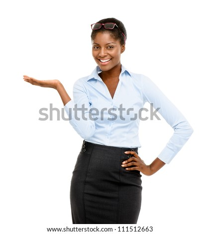 Happy African American businesswoman showing empty copy space isolated on white background - stock photo