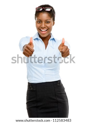 Happy African American businesswoman thumbs up isolated on white background - stock photo