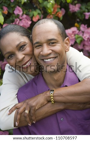 Happy African American couple spending time together - stock photo
