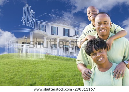 Happy African American Family with Ghosted House Drawing, Partial Photo and Rolling Green Hills Behind. - stock photo