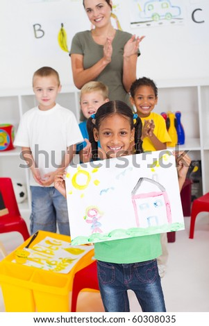 happy african american girl in classroom - stock photo