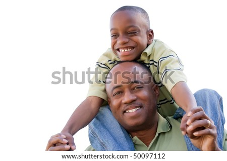Happy African American Man and Child Isolated on a White Background. - stock photo