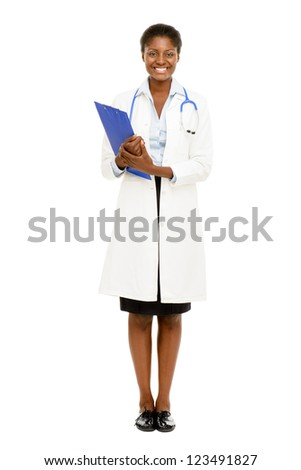 Happy African American trusted Nurse Doctor Woman isolated on white background - stock photo
