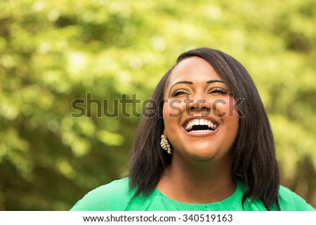 Happy African American woman - stock photo