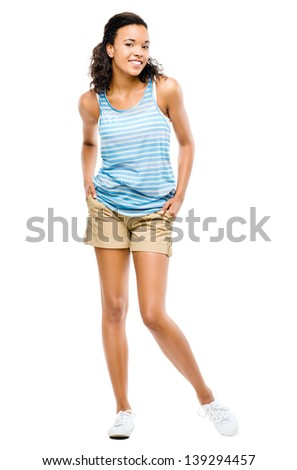 Happy african american woman isolated on white background - stock photo