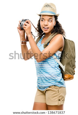 Happy African American woman tourist - stock photo