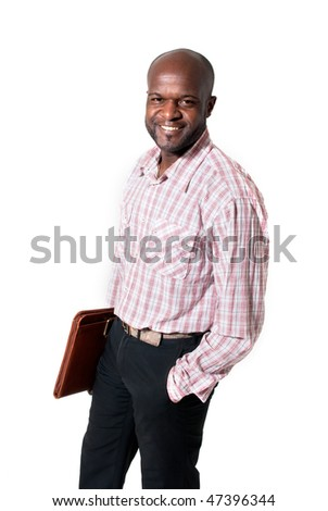 Happy african businessman smiling with briefcase isolated. - stock photo