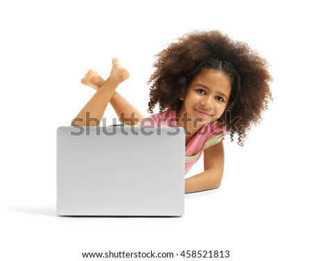 Happy African girl with laptop, isolated on white - stock photo