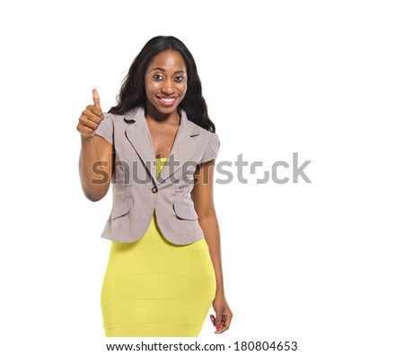 Happy African Woman Giving Thumbs Up - stock photo