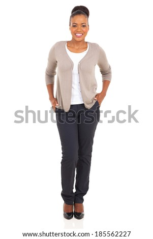 happy african woman posing in trendy style full length portrait - stock photo