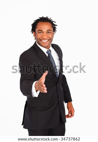 Happy Afro-American businessman greeting with handshake - stock photo