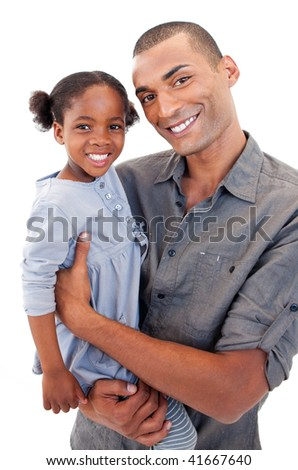 Happy Afro-American dad holding her little daughter agaisnt white background - stock photo
