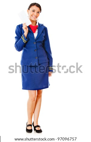 Happy air hostess holding ticket  - isolated over a white background - stock photo