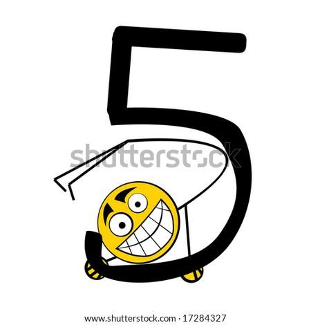 Happy Alphabet number - 5 five - stock photo