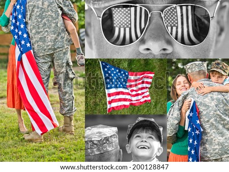 Happy american family reunited collage. Father in military uniform returns home concept - stock photo