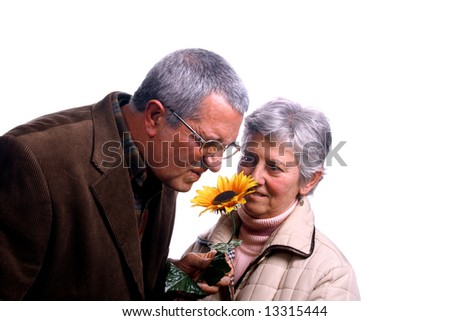 happy and beautiful mature couple - stock photo