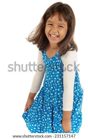 Happy and cute asian child . - stock photo