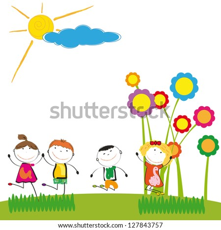 Happy and cute boys and girl in garden - stock photo