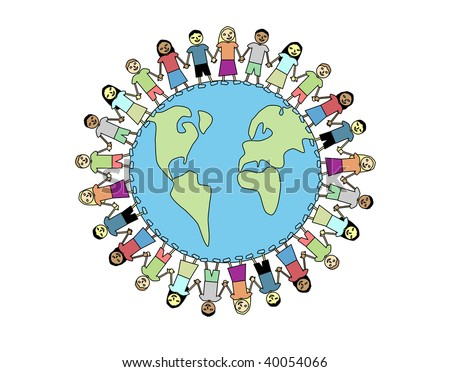 Happy and diverse kids holding hands around the world - stock photo