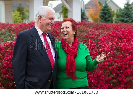 Happy and healthy senior enjoying autumn by the burning bush shrubs, she is wearing Christmas colors, red scarf and green shirt he has suit and tie - stock photo