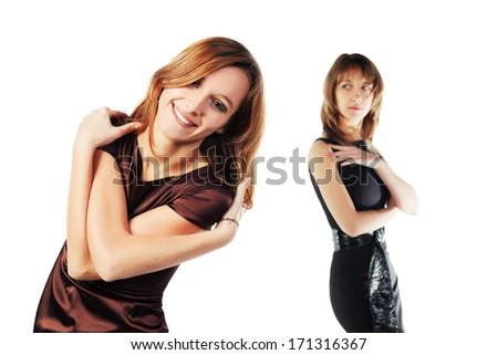 Happy and jealous women - stock photo