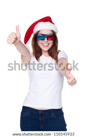 happy and laughing girl showing thumbs up. isolated on white background - stock photo