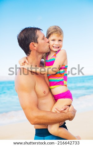 Happy and Loving Father and Daughter on the Beach, Summer Lifestyle - stock photo