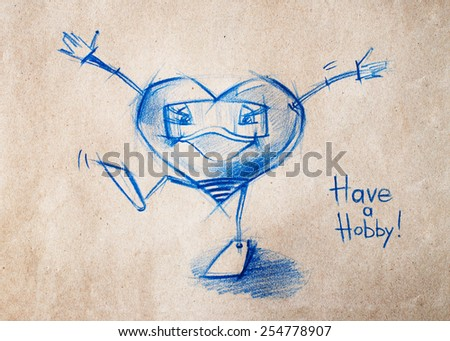 Happy and Ready to Swim. Set. Character Heart in Various Life Situations. Graphic illustration in Pencil Drawing - stock photo