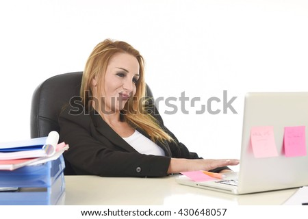 happy and relaxed 40s businesswoman with blond hair smiling confident leaning on office chair working at laptop computer in female business success concept isolated white background - stock photo