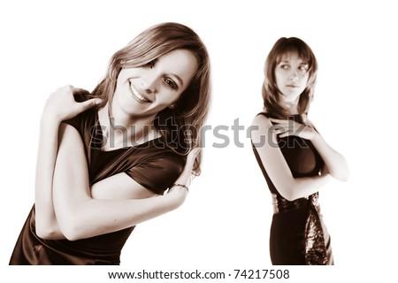 Happy and sad women - stock photo