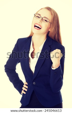 Happy and shocked beautiful business woman.  - stock photo