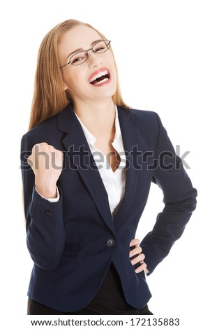 Happy and shocked business woman. Isolated on white. - stock photo