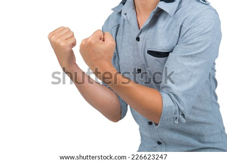 happy and showing success with hands. closeup - stock photo