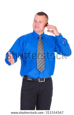 Happy and smile business man. Successful businessman in blue shirt and tie speak by cell mobile phone and showing gesture by hand, isolated white background, Concept of leadership and success - stock photo
