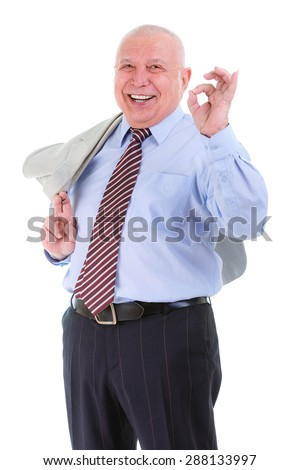 Happy and smile old mature business man in shirt and tie, holds a suit jacket over shoulder and show ok gesture, isolated on white background. Positive human emotion, facial expression - stock photo