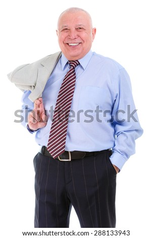 Happy and smile old mature business man in shirt and tie, self-confident, holds a suit jacket over shoulder, isolated on white background. Positive human emotion, facial expression - stock photo