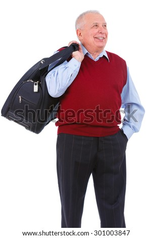Happy and smile old senior man holding suitcase on shoulder and put hand in trouser pocket looking to left side, isolated on white background. Positive human emotion, facial expression - stock photo