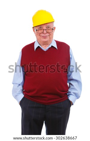 Happy and smile portrait of old senior business man in cardigan marsala color, shirt, helmet and glasses, hands in pocket, Isolated over white background, Human emotions and facial expressions - stock photo