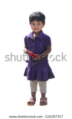 Happy and smiling cute young girl(kid) isolated on white background. The beautiful Indian kid is 2 years old. - stock photo