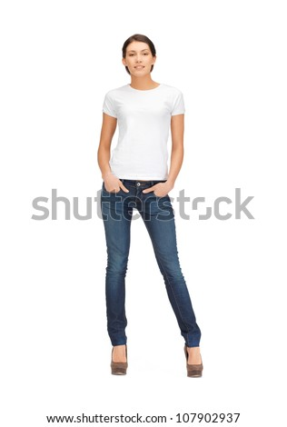 happy and smiling woman in blank white t-shirt - stock photo