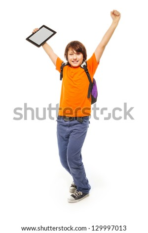 Happy and surprised Caucasian 11 years old girl with tablet computer, isolated on white - stock photo