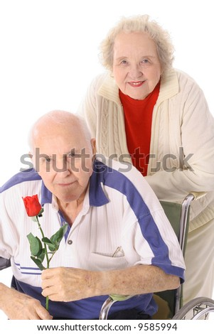 happy anniversary senior couple - stock photo