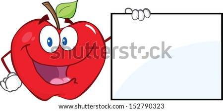 Happy Apple Cartoon Character Showing A Blank Sign. Raster Illustration - stock photo