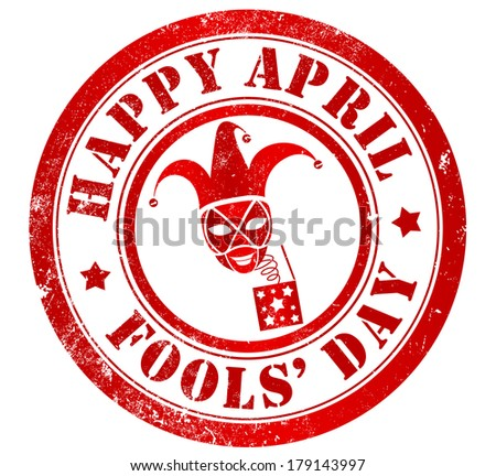 Happy april fools' day grunge stamp, in english language - stock photo