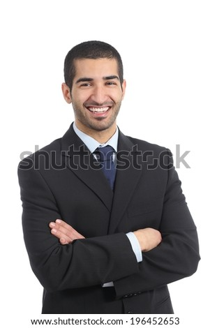 Happy arab businessman posing standing with folded arms isolated on a white background     - stock photo