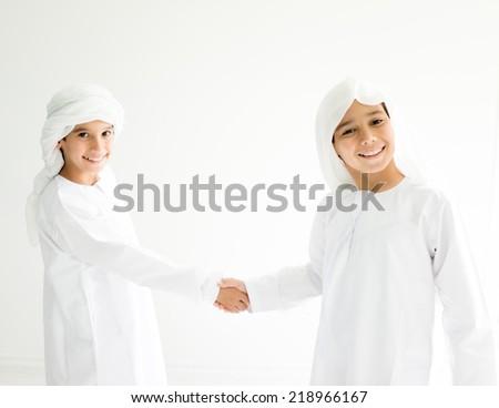 Happy Arabic family members - stock photo
