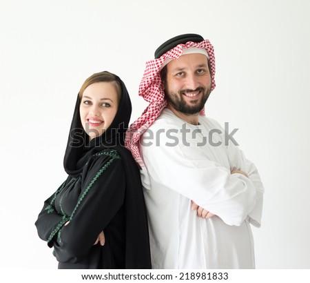 Happy Arabic wife and husband - stock photo