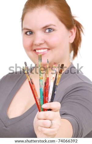 Happy artist - stock photo